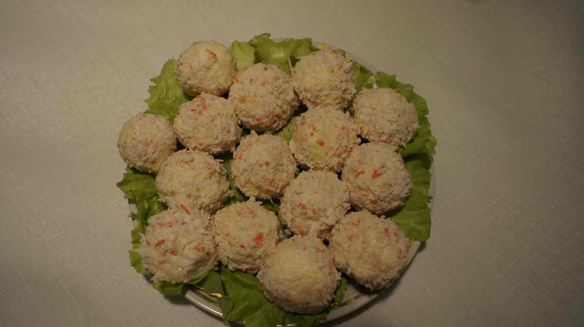 закуска рафаэлло из крабовых палочек
